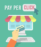 On-line-Einkaufen durch Computer Stockfotos
