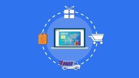 On-line-Einkaufen mit bunten Szenen der runden Animation der Symbole hochauflösenden stock footage