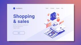 On-line-Einkaufen mit E-Commerce-Vektorillustration des Smartphonekonzeptes isometrischer stockfotografie