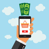 On-line-Einkaufen mit intelligentem Telefon Stockbild