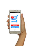 On-line-Einkaufen mit intelligentem Telefon auf lokalisiertem weißem Hintergrund Lizenzfreies Stockfoto