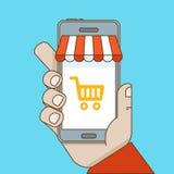 On-line-Einkaufen und bewegliches E-Commerce-Konzept Stockfoto