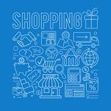 On-line-Einkaufsdünne Linien Netz-Ikonen-Konzept Stockfoto