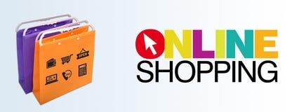 On-line-Einkaufsfahne mit Taschen und Ikonen Stockfotos