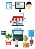 On-line-Einkaufsflaches Konzept Stockfotografie