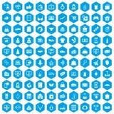 100 on-line-Einkaufsikonen blau eingestellt lizenzfreie abbildung