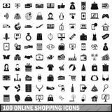 100 on-line-Einkaufsikonen eingestellt, einfache Art Stockbild