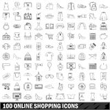100 on-line-Einkaufsikonen eingestellt, Entwurfsart Stockfotografie