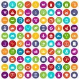 100 on-line-Einkaufsikonen eingestellte Farbe stock abbildung