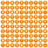 100 on-line-Einkaufsikonen orange eingestellt vektor abbildung