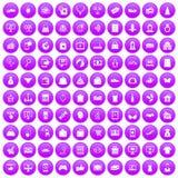 100 on-line-Einkaufsikonen purpurrot eingestellt vektor abbildung