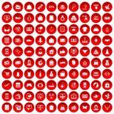 100 on-line-Einkaufsikonen rot eingestellt Stockfotografie