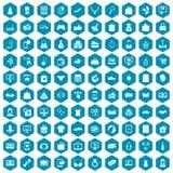 100 on-line-Einkaufsikonen Sapphirineveilchen Lizenzfreie Stockfotografie
