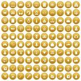 100 on-line-Einkaufsikonen stellten Gold ein vektor abbildung