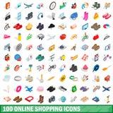 100 on-line-Einkaufsikonen stellten, isometrische Art 3d ein Stockbilder