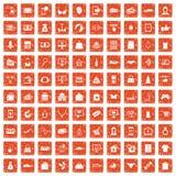 100 on-line-Einkaufsikonen stellten Schmutz orange ein lizenzfreie abbildung