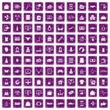 100 on-line-Einkaufsikonen stellten Schmutz purpurrot ein Lizenzfreie Stockfotografie