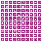 100 on-line-Einkaufsikonen stellten Schmutzrosa ein vektor abbildung