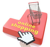 On-line-Einkaufsknopf - E-Commerce-Konzept Lizenzfreie Stockfotografie