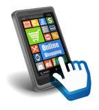 On-line-Einkaufskonzept auf Smartphone Stockfotos