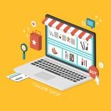 On-line-Einkaufskonzept 3d isometrisches infographic Lizenzfreie Stockfotos