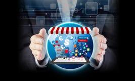On-line-Einkaufskonzept der Geschäftsfrauhand und -Warenkorbes Stockbilder