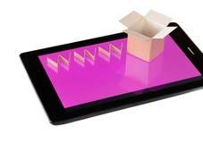 On-line-Einkaufskonzept lokalisiert auf weißem Hintergrund Lizenzfreies Stockbild