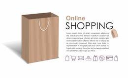On-line-Einkaufskonzept mit ccraft Einkaufstasche auf weißem Hintergrund stock abbildung