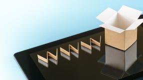 On-line-Einkaufskonzepthintergrund Stockfoto
