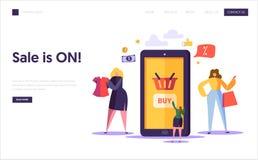 On-line-Einkaufslandungsseitenschablone Charaktere, die Kleidung im Internet-Speicher unter Verwendung Smartphones, E-Commerce-Ko lizenzfreie abbildung