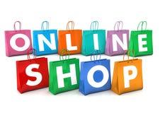 On-line-Einkaufstaschen Stockbild