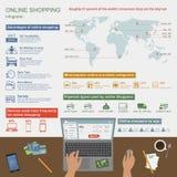 On-line-Einkaufsvektor infographic Symbole, Ikonen Lizenzfreie Stockfotografie