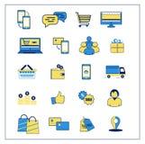 On-line-Einkaufsvektorikonen Schließt ENV, AI CS2 ein Lizenzfreies Stockfoto