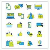 On-line-Einkaufsvektorikonen Schließt ENV, AI CS2 ein Lizenzfreie Stockfotografie