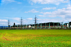Line of electric converters. Equipment at a power plant stock photography