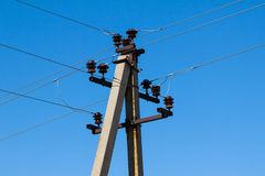 Line of electrical transmission towers Royalty Free Stock Photo
