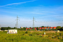Electricity pylons Stock Photo