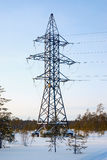 Line of electricity transmission in the winter forest . Royalty Free Stock Photos
