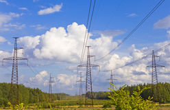 Line of electricity transmissions Royalty Free Stock Images