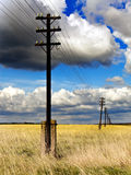 The line of electricity transmissions in the field. Old wooden poles - the line of electricity transmissions - in the field Stock Photo