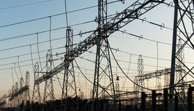 Line of electricity transmissions Stock Image