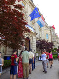 Line for the Embassy of Luxembourg Royalty Free Stock Photo