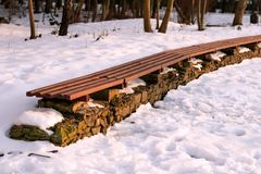 Line of empty winter park bench in sunny day. Concept of relax, comfort, park decorating, frosty weather, beautiful landscape. stock photography