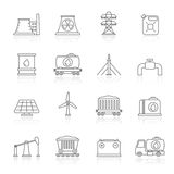 Line energy source and fossil fuel industry icons Stock Photos