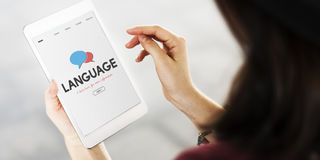 On-line-Erlernen- der Spracheschnittstellen-Konzept stockfoto