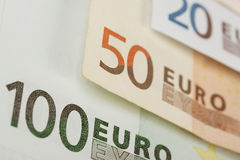 Line of euro banknotes Stock Images