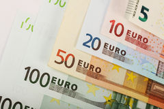 Line of euro banknotes Stock Photography