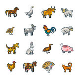 Line Farm Animals Set. Colorful line farm animals and birds doodle set isolated on white background vector illustration Royalty Free Stock Photo