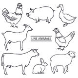 Line Farm animals Set of 8 vector isolated objects vector illustration