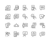 Line Feedback Icons. Simple Set of Feedback Related Vector Line Icons. Contains such Icons as Star Rating, User Opinion, Testimonial and more. Editable Stroke stock illustration